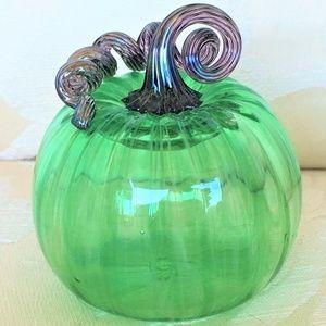 GLASS * HAND BLOWN PUMPKIN * Lenoff Art Glass